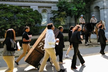 Casket Takes Center Stage at Capitol as Supporters of Measure to End Police Lethal Force Rally