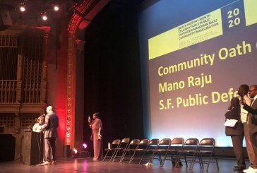 Mother of Mario Woods Administers Oath to San Francisco Public Defender Mano Raju at Packed Community Inauguration